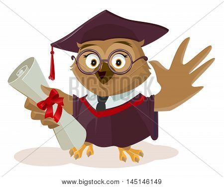 Owl graduate holding diploma. Isolated on white vector cartoon illustration