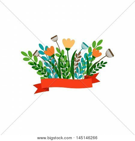 Floral decorative bouqet with ribbon. Vector illustration