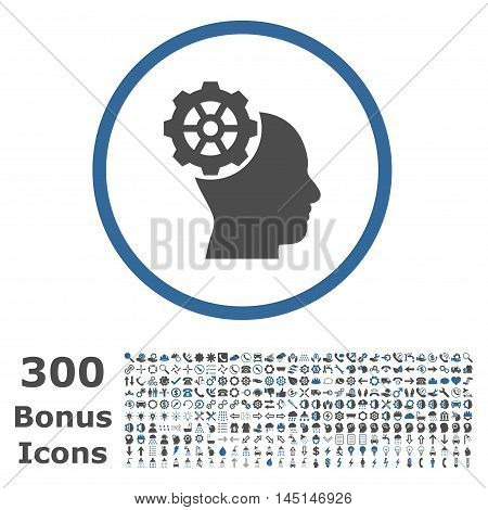 Head Gear rounded icon with 300 bonus icons. Glyph illustration style is flat iconic bicolor symbols, cobalt and gray colors, white background.