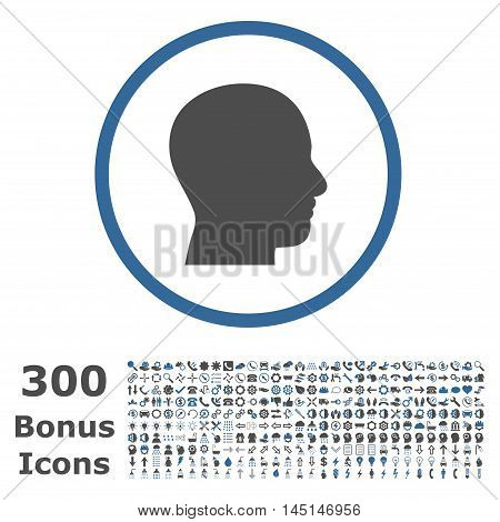 Head Profile rounded icon with 300 bonus icons. Glyph illustration style is flat iconic bicolor symbols, cobalt and gray colors, white background.