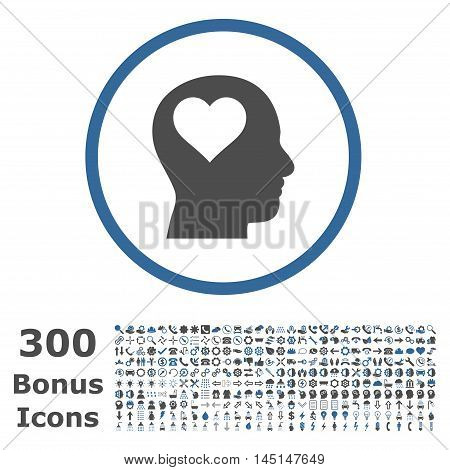 Lover Head rounded icon with 300 bonus icons. Glyph illustration style is flat iconic bicolor symbols, cobalt and gray colors, white background.