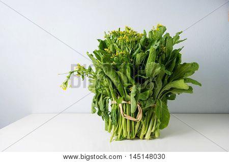 Bog Choy Vegetable On White Table Background