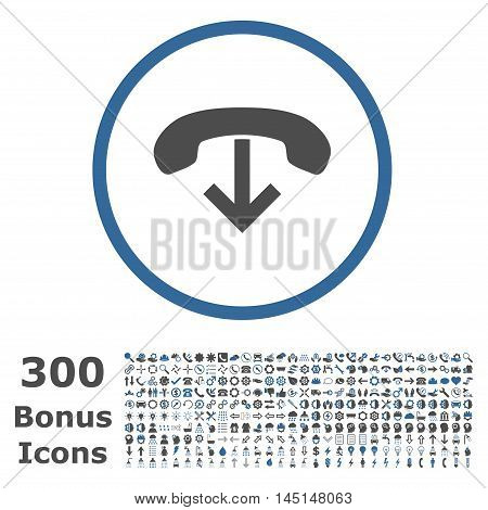 Phone Hang Up rounded icon with 300 bonus icons. Glyph illustration style is flat iconic bicolor symbols, cobalt and gray colors, white background.