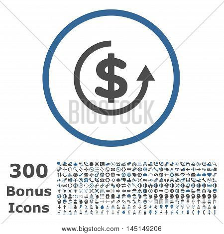 Refund rounded icon with 300 bonus icons. Glyph illustration style is flat iconic bicolor symbols, cobalt and gray colors, white background.
