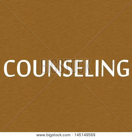 COUNSELING white wording on Background Brown wood