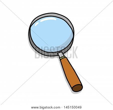 Magnifying Glass, A hand drawn vector illustration of a magnifying glass with backdrop shadow (on separate group).