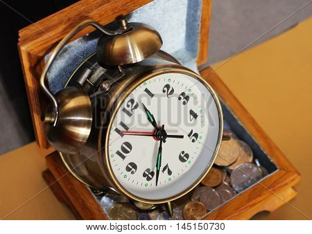 Alarm clock and money russian finance cash
