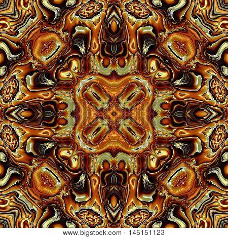 Abstract decorative brown texture - kaleidoscopic pattern