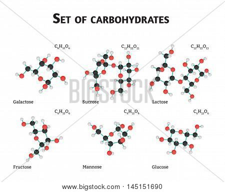 Carbohydrate sugar set isolated on white in vector