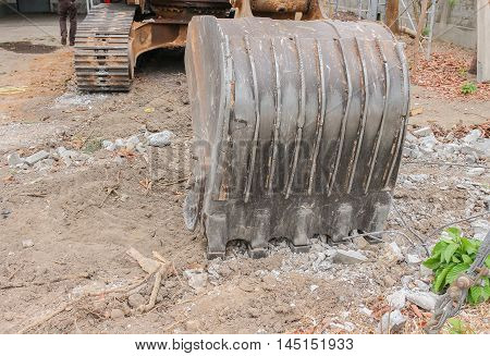 Close up excavator destruction in Work outdoor construction