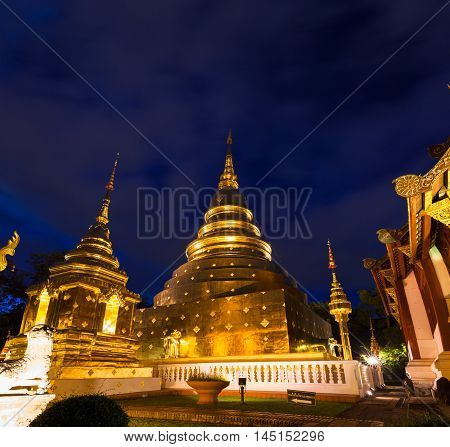 Wat Phra Singh At Dusk, Chiang Mai, Thailand