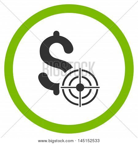Business Target vector bicolor rounded icon. Image style is a flat icon symbol inside a circle, eco green and gray colors, white background.