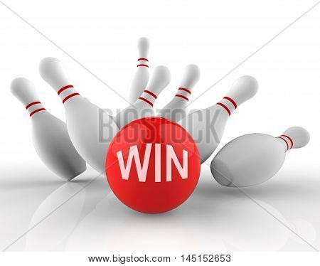 Win Bowling Represents Strike Success 3D Rendering