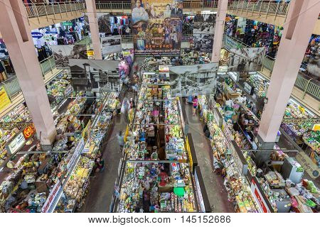 CHIANG MAI THAILAND - AUGUST 27: High angle view of the Warorot market stalls on August 27 2016 in Chiang Mai Thailand.
