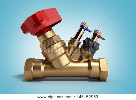 Crane Balancing Valve Without Draining For Plumbing 3D Rendering On A Gradient Background