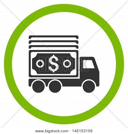Cash Lorry vector bicolor rounded icon. Image style is a flat icon symbol inside a circle, eco green and gray colors, white background.