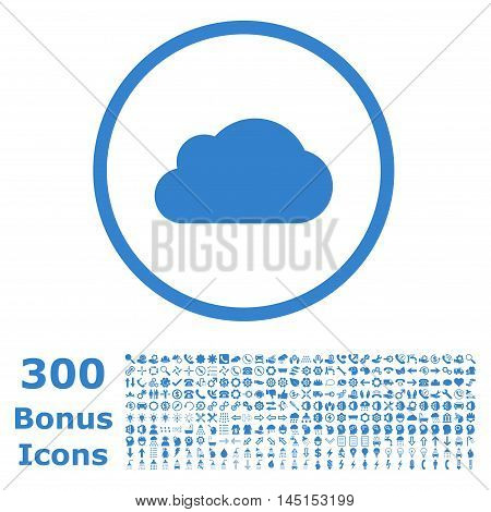 Cloud rounded icon with 300 bonus icons. Glyph illustration style is flat iconic symbols, cobalt color, white background.