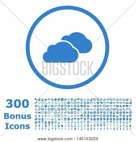 Clouds rounded icon with 300 bonus icons. Glyph illustration style is flat iconic symbols, cobalt color, white background.