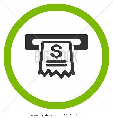 Cashier Receipt vector bicolor rounded icon. Image style is a flat icon symbol inside a circle, eco green and gray colors, white background.