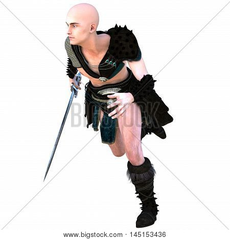 one young bald warrior in the Roman light armor. Barbaric. He runs to the left. Holding an iron sword in his right hand. The view from the left side. Head turned to the right. 3D rendering, 3D illustration
