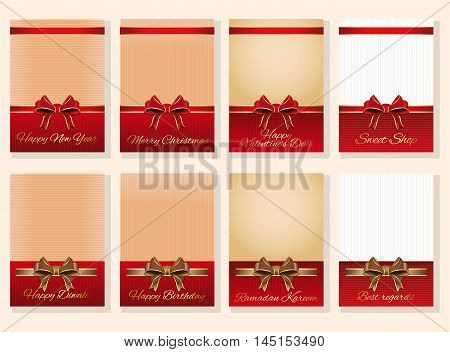 Set of vector holiday backgrounds with congratulatory messages for your design