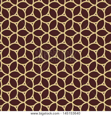 Seamless vector brown and golden ornament. Modern geometric pattern with repeating elements