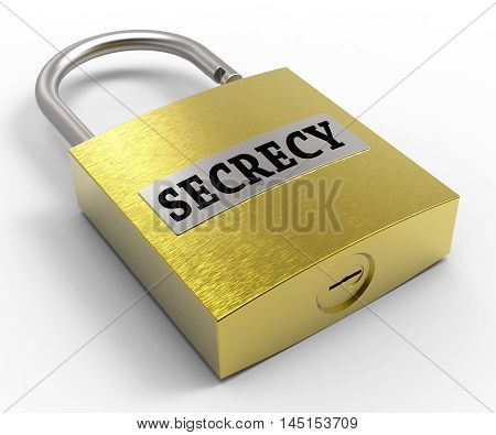 Secrecy Padlock Represents Top Secret 3D Rendering