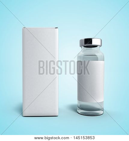 Empty Medical Ampoule With A Box 3D Illustration On White Blue Gradient