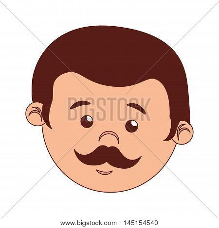 face man cartoon moustache isolated vector illustration esp 10