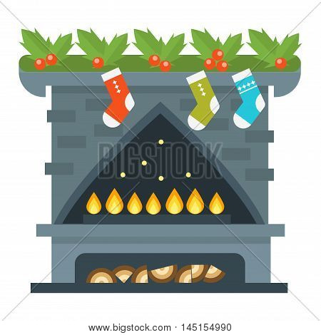 Vector christmas fireplace icon and fireplace design.
