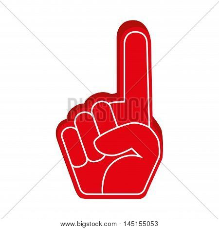 hand foam finger red isolated vector illustration eps 10