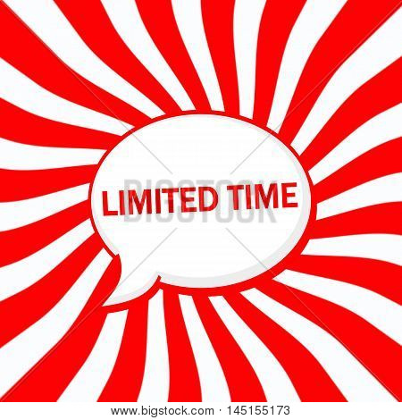 Limited time Speech bubbles wording on Striped sun red-white background