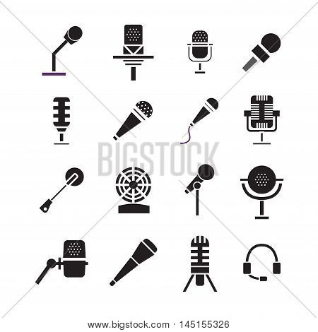 Different microphones types icons.