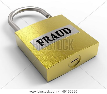 Fraud Padlock Shows Hoax Scam 3D Rendering