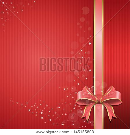 Abstract festive pink background for design. Happy holiday. Red background with pink ribbon and bow for holidays and romantic events. Holiday red background with gift glossy bow and ribbon.