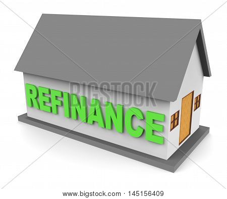 House Refinance Shows Equity Mortgage 3D Rendering