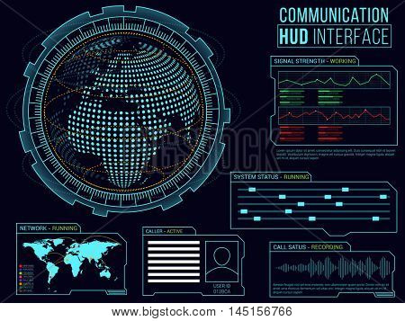 Communication HUD Interface layout, Abstract virtual graphic touch user interface.