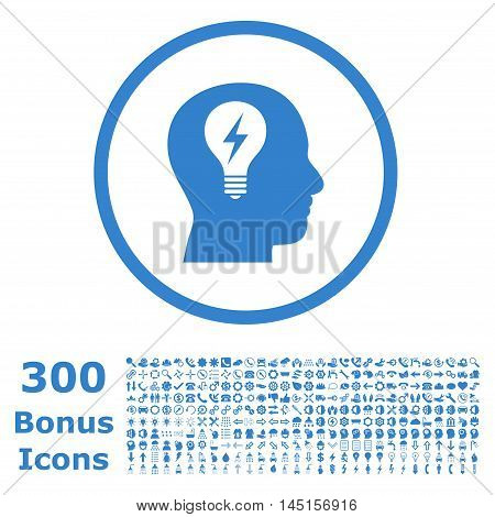 Head Bulb rounded icon with 300 bonus icons. Glyph illustration style is flat iconic symbols, cobalt color, white background.