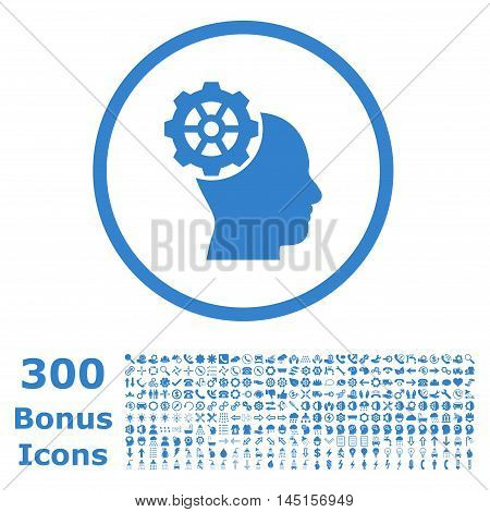 Head Gear rounded icon with 300 bonus icons. Glyph illustration style is flat iconic symbols, cobalt color, white background.