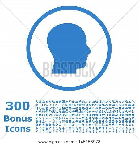 Head Profile rounded icon with 300 bonus icons. Glyph illustration style is flat iconic symbols, cobalt color, white background.