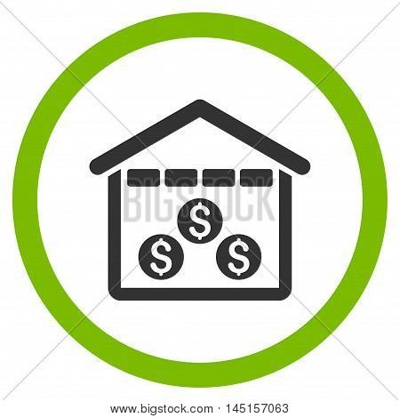 Money Depository vector bicolor rounded icon. Image style is a flat icon symbol inside a circle, eco green and gray colors, white background.