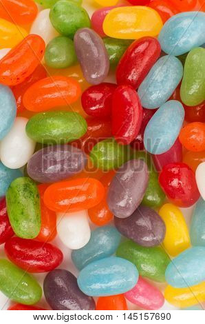 Assorted jelly beans. Colorful image great for backgrounds. Medium shot.