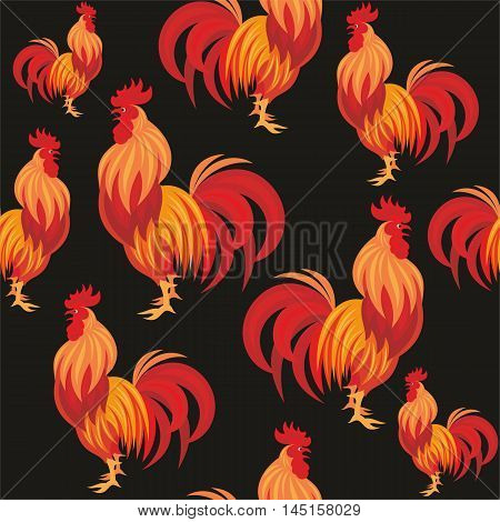 Fiery rooster - a symbol of new 2017 on the Chinese horoscope. Seamless pattern.