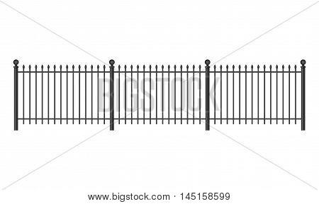 Black forged lattice fence. vector illustration isolated on white background