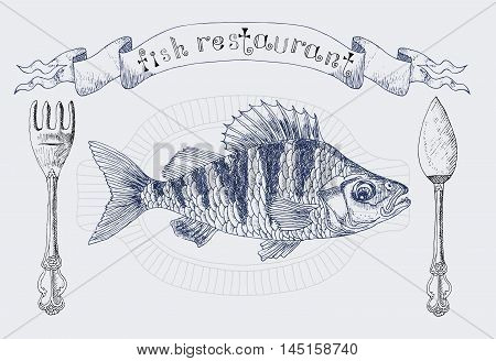 Restaurant vignette banner with crucian fish and cutlery, design set with hand drawn elements