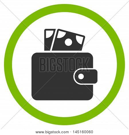 Wallet vector bicolor rounded icon. Image style is a flat icon symbol inside a circle, eco green and gray colors, white background.