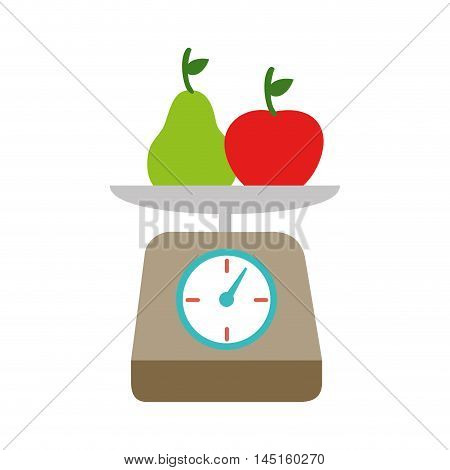 kitchen scale fruits isolated vector illustration eps 10