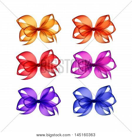 Vector Set of Colored Bright Red Orange Yellow Blue Pink Purple Violet Transparent Gift Bows Close up Isolated on White Background