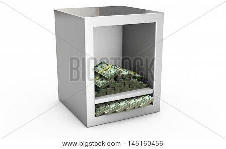 Steel safe box and money 3D. Protection of finance concept. Isolated on white