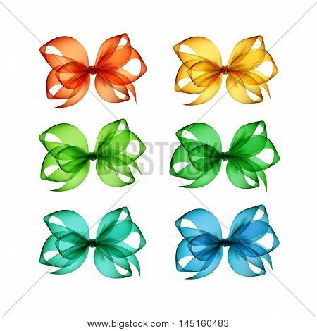 Vector Set of Colored Bright Orange Yellow Blue Light Green Emerald Transparent Gift Bows Close up Isolated on White Background